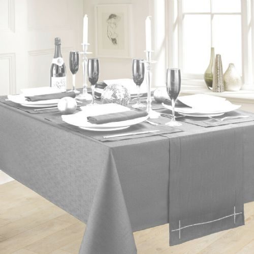 LINEN LOOK PLAIN SLUBBED XMAS CHRISTMAS TABLECLOTH OR RUNNERS DINNER PARTY LINEN GREY
